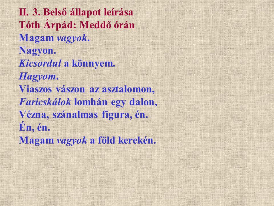 II. 3. Belső állapot leírása Tóth Árpád: Meddő órán Magam vagyok