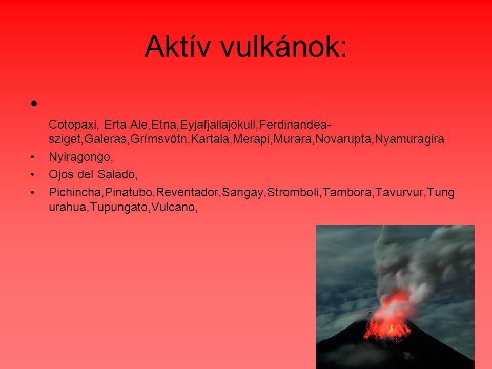 Aktív vulkánok: Cotopaxi, Erta Ale,Etna,Eyjafjallajökull,Ferdinandea-sziget,Galeras,Grímsvötn,Kartala,Merapi,Murara,Novarupta,Nyamuragira.