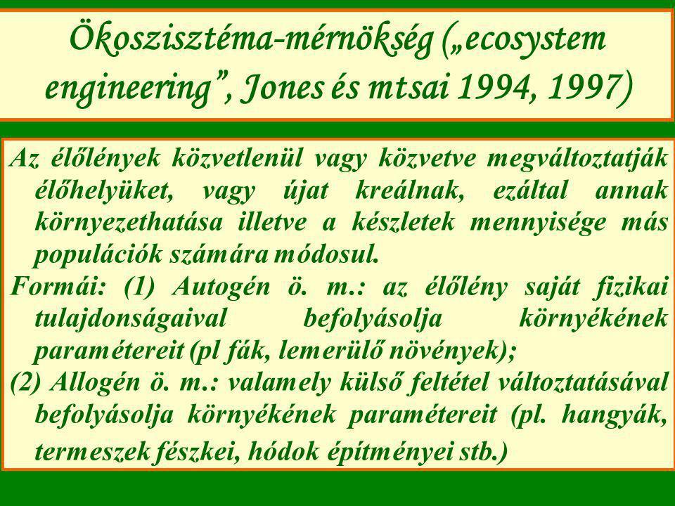 """Ökoszisztéma-mérnökség (""""ecosystem engineering , Jones és mtsai 1994, 1997)"""