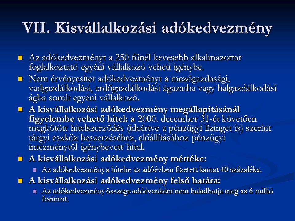 VII. Kisvállalkozási adókedvezmény