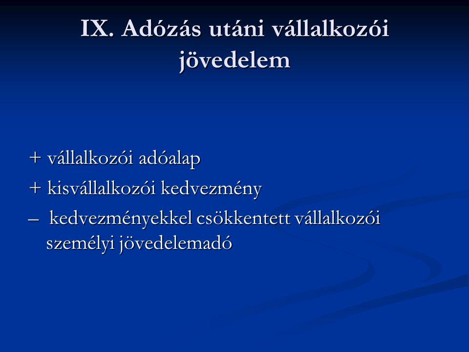 IX. Adózás utáni vállalkozói jövedelem