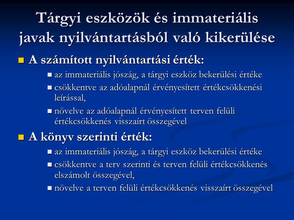 Tárgyi eszközök és immateriális javak nyilvántartásból való kikerülése