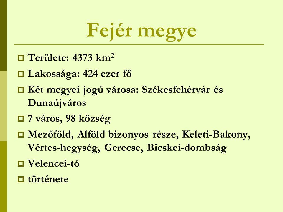 Fejér megye Területe: 4373 km2 Lakossága: 424 ezer fő