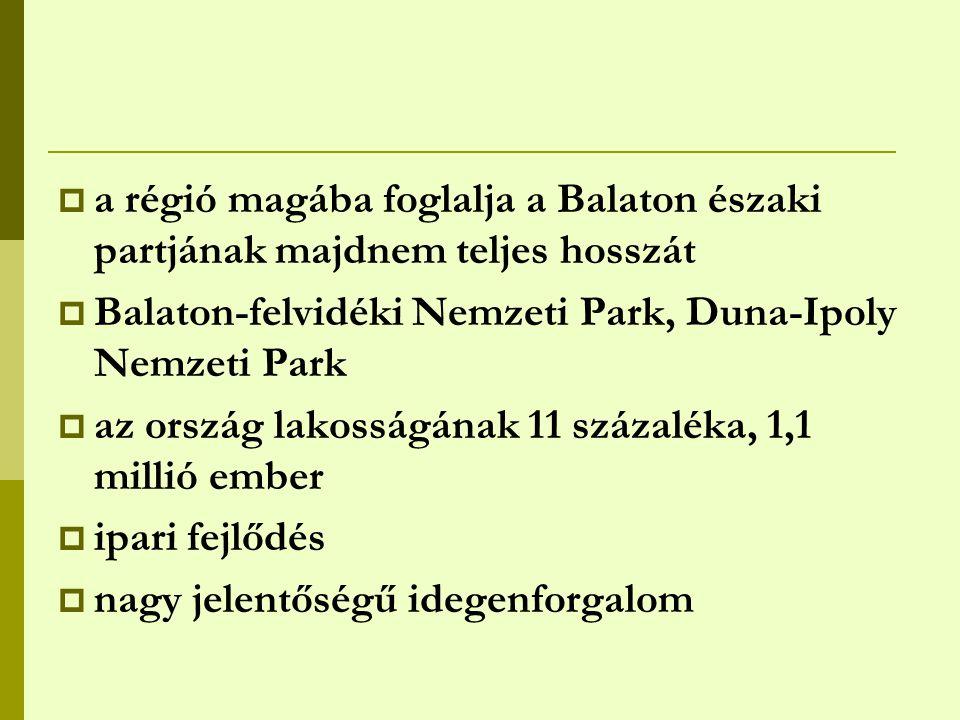 a régió magába foglalja a Balaton északi partjának majdnem teljes hosszát