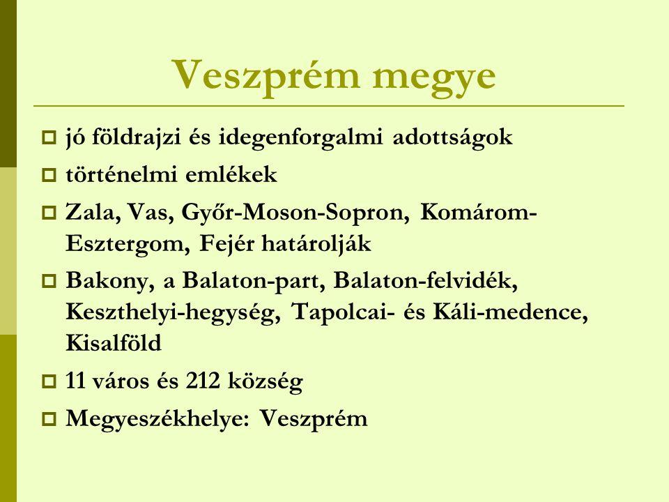 Veszprém megye jó földrajzi és idegenforgalmi adottságok