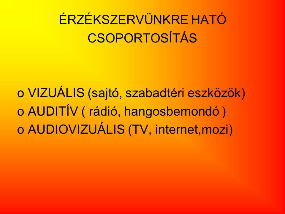 ÉRZÉKSZERVÜNKRE HATÓ CSOPORTOSÍTÁS. VIZUÁLIS (sajtó, szabadtéri eszközök) AUDITÍV ( rádió, hangosbemondó )