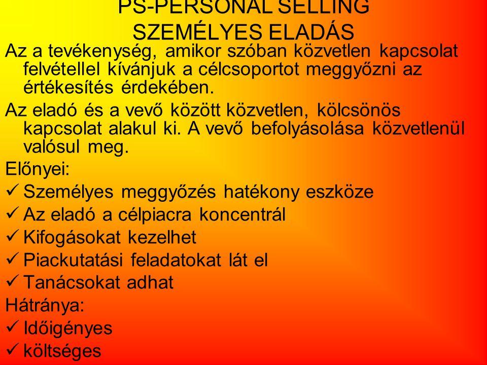 PS-PERSONAL SELLING SZEMÉLYES ELADÁS