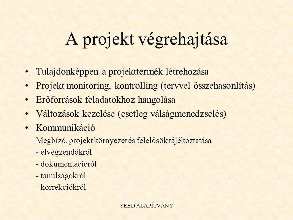 A projekt végrehajtása