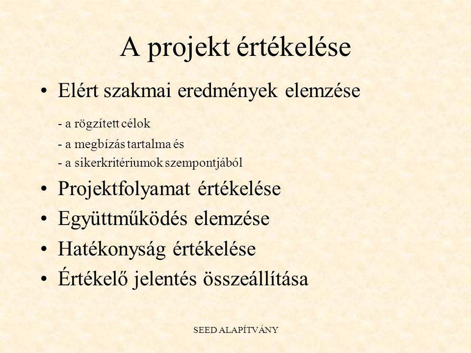 A projekt értékelése Elért szakmai eredmények elemzése