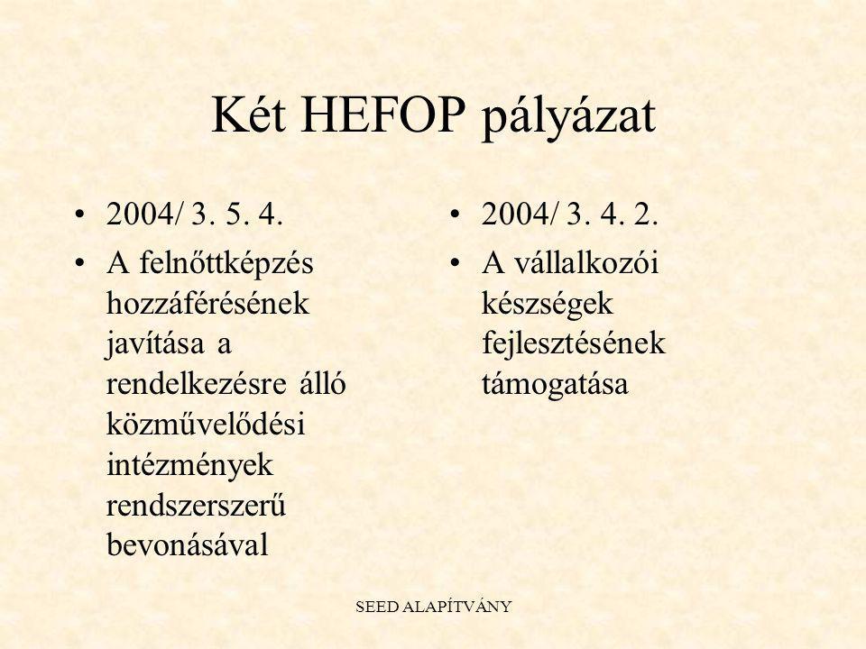 Két HEFOP pályázat 2004/ 3. 5. 4. A felnőttképzés hozzáférésének javítása a rendelkezésre álló közművelődési intézmények rendszerszerű bevonásával.