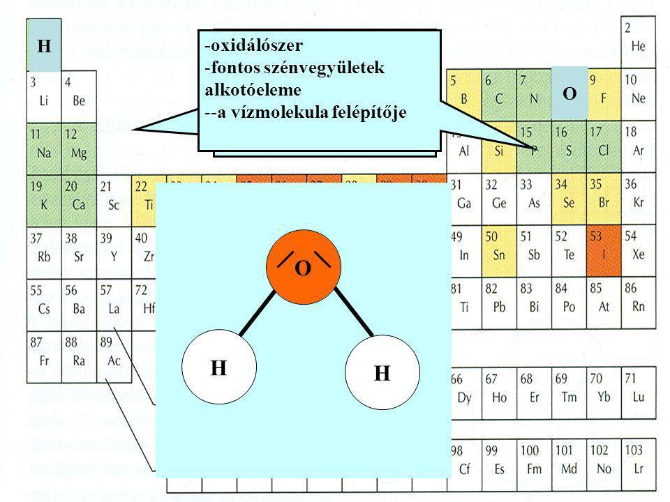 H -oxidálószer. fontos szénvegyületek alkotóeleme. -a vízmolekula felépítője. -az energiatermelő folyamatokban jelentős.