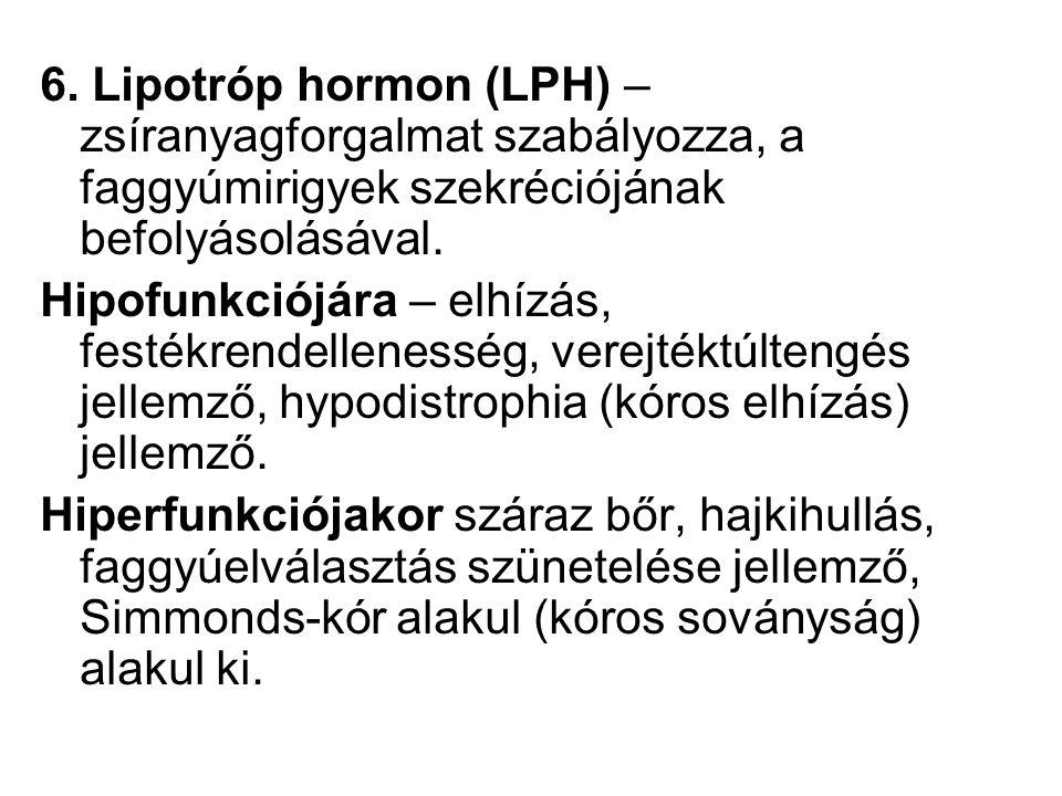 6. Lipotróp hormon (LPH) – zsíranyagforgalmat szabályozza, a faggyúmirigyek szekréciójának befolyásolásával.