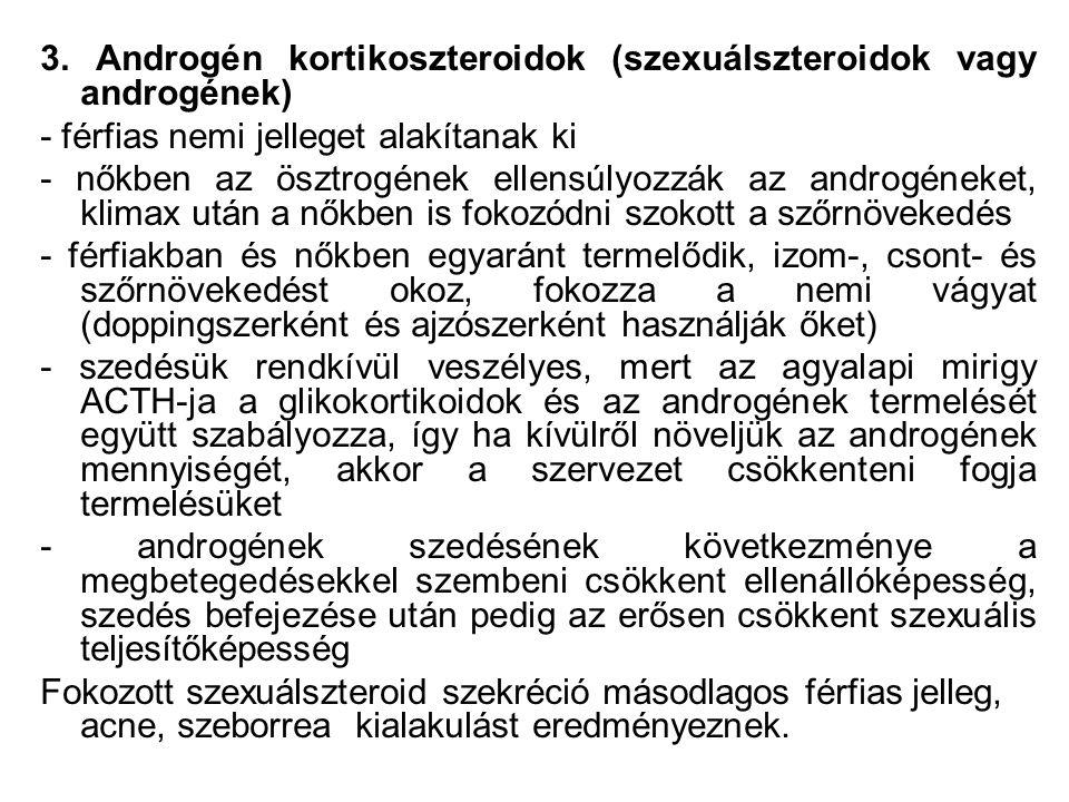 3. Androgén kortikoszteroidok (szexuálszteroidok vagy androgének)