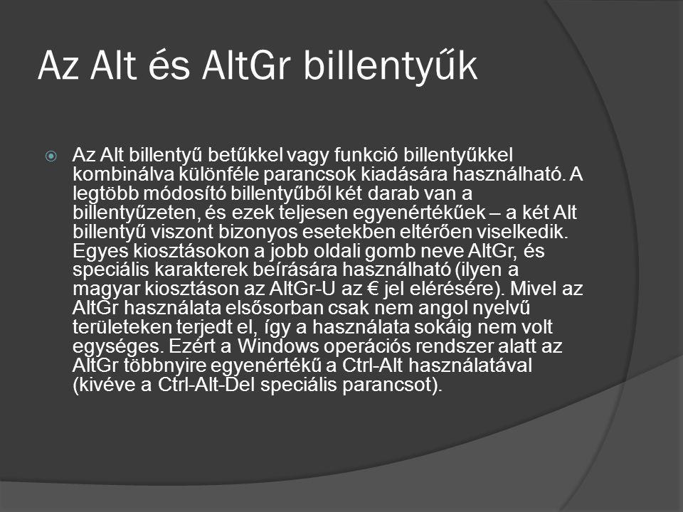 Az Alt és AltGr billentyűk