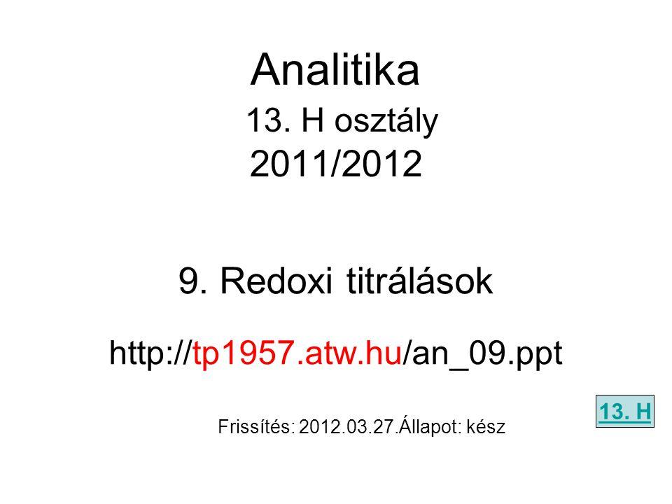 9. Redoxi titrálások http://tp1957.atw.hu/an_09.ppt