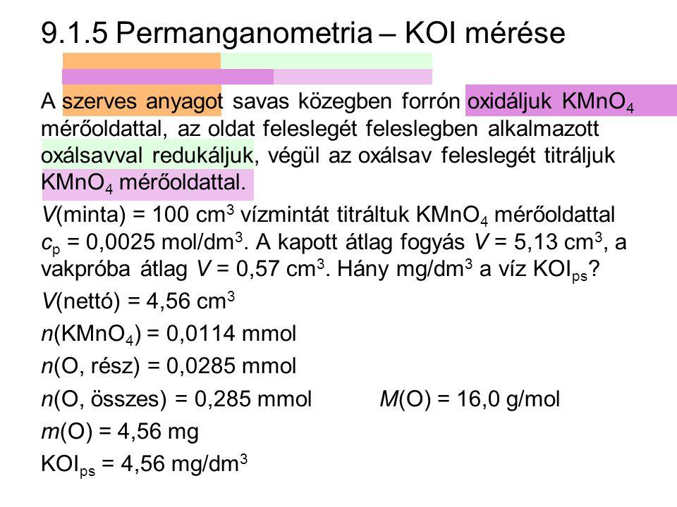 9.1.5 Permanganometria – KOI mérése