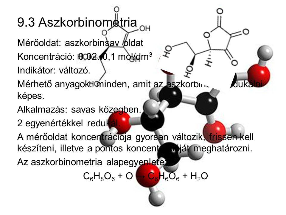 9.3 Aszkorbinometria Mérőoldat: aszkorbinsav oldat