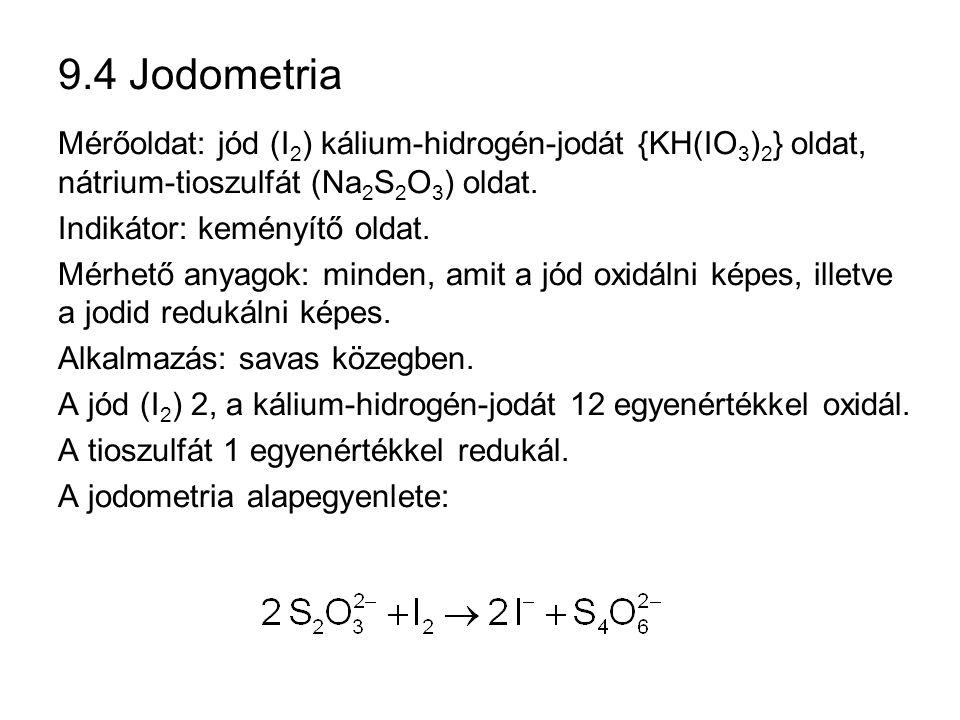 9.4 Jodometria Mérőoldat: jód (I2) kálium-hidrogén-jodát {KH(IO3)2} oldat, nátrium-tioszulfát (Na2S2O3) oldat.