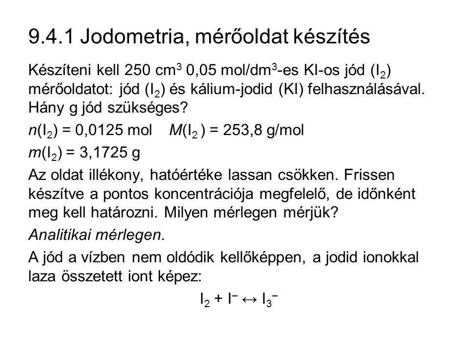 9.4.1 Jodometria, mérőoldat készítés