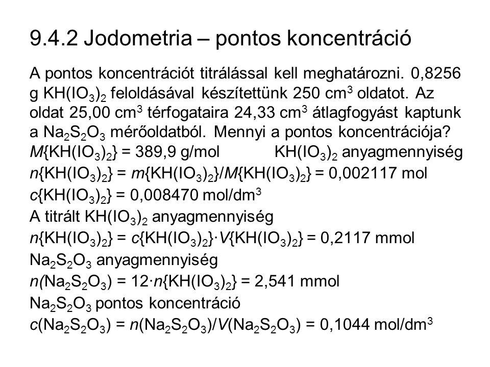 9.4.2 Jodometria – pontos koncentráció