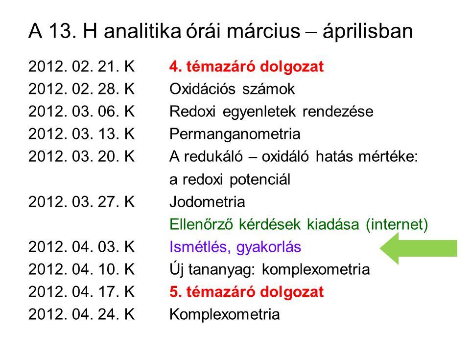 A 13. H analitika órái március – áprilisban