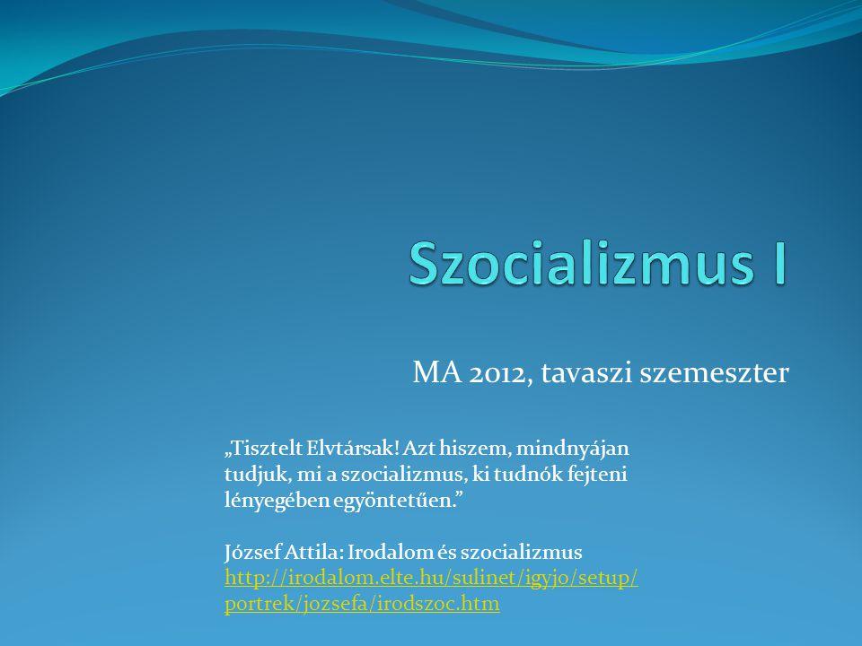 Szocializmus I MA 2012, tavaszi szemeszter