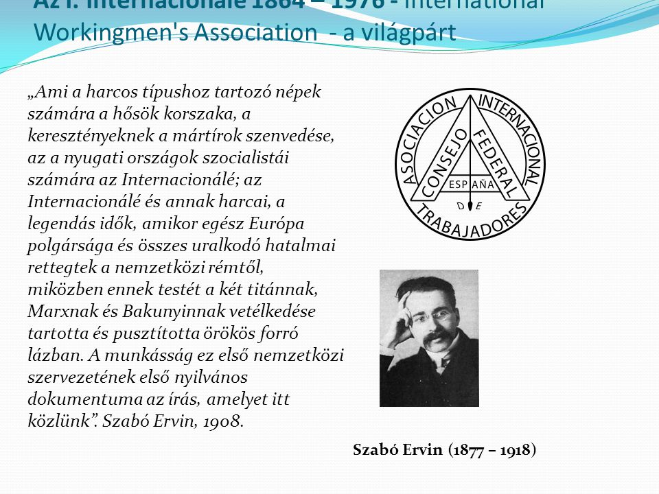 Az I. Internacionálé 1864 – 1976 - International Workingmen s Association - a világpárt