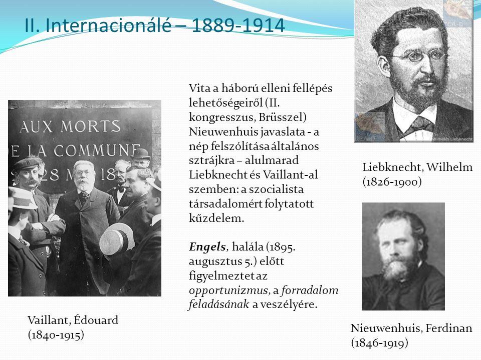 II. Internacionálé – 1889-1914 Vita a háború elleni fellépés lehetőségeiről (II. kongresszus, Brüsszel)