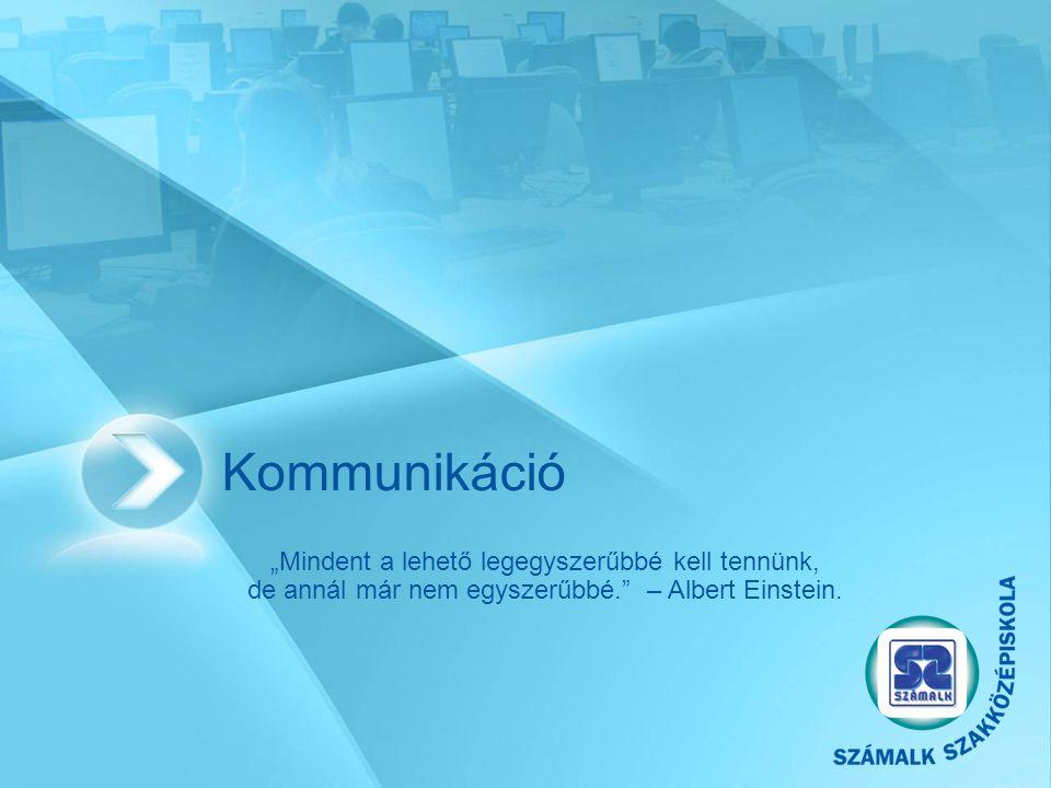"""Kommunikáció """"Mindent a lehető legegyszerűbbé kell tennünk, de annál már nem egyszerűbbé. – Albert Einstein."""