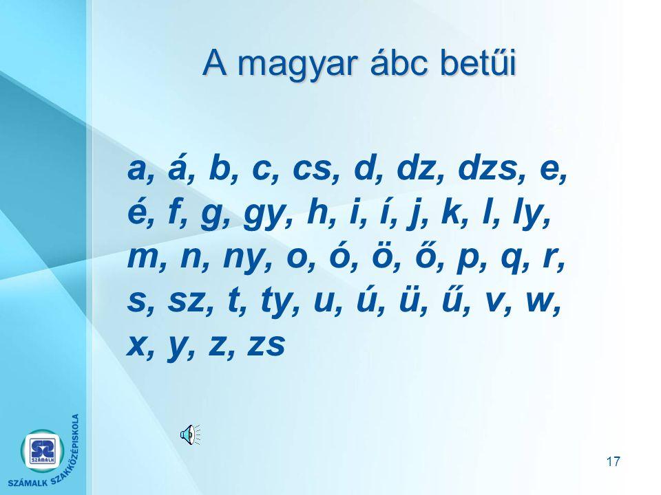 A magyar ábc betűi