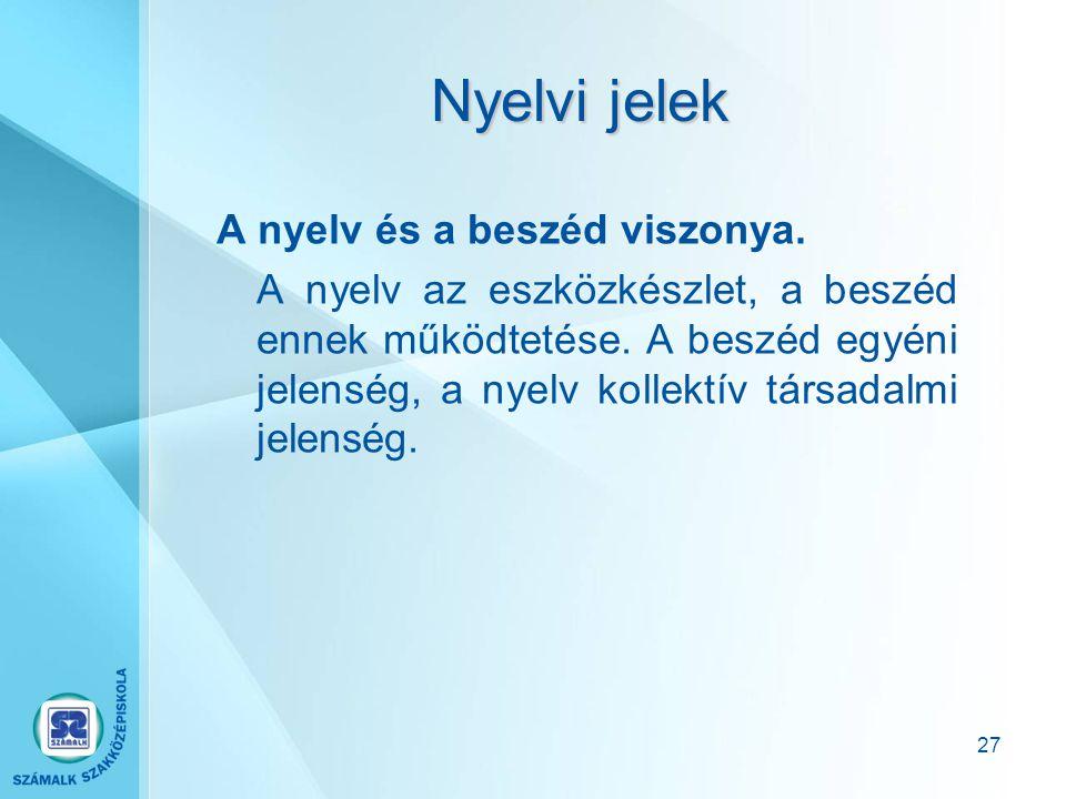 Nyelvi jelek A nyelv és a beszéd viszonya.