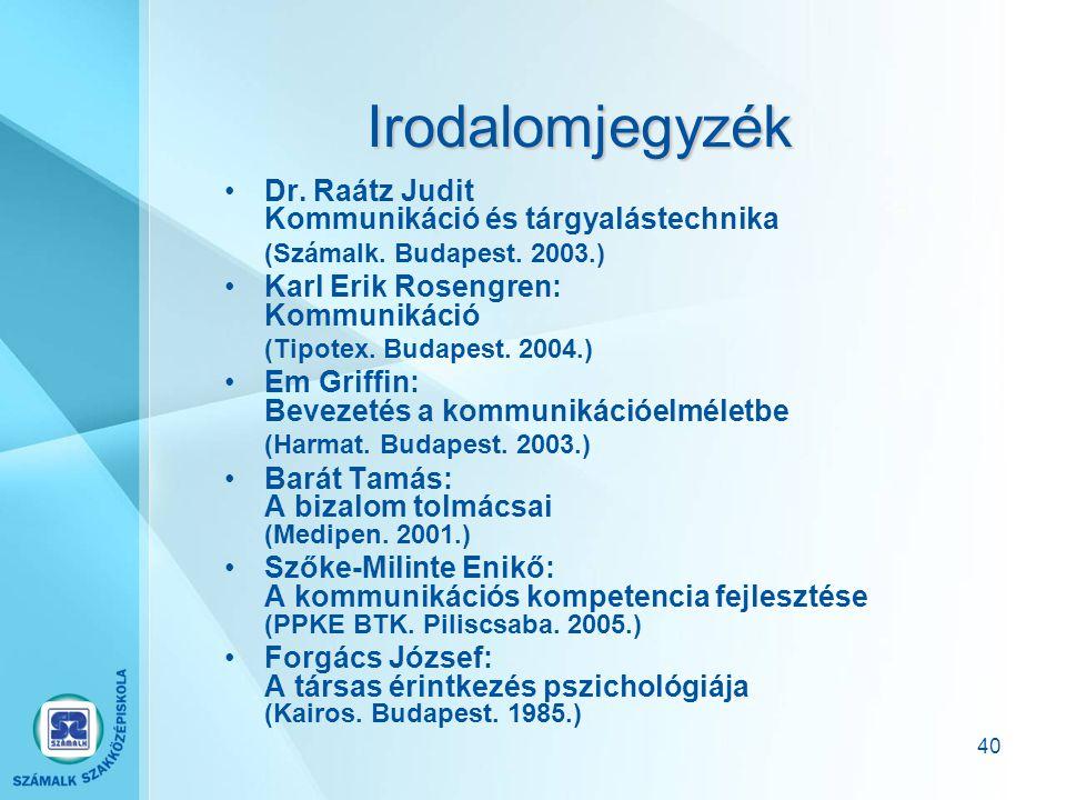 Irodalomjegyzék Dr. Raátz Judit Kommunikáció és tárgyalástechnika