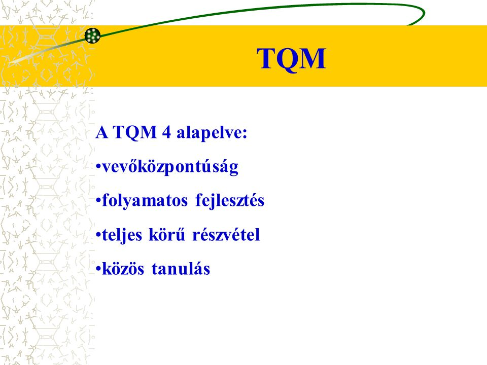 TQM A TQM 4 alapelve: vevőközpontúság folyamatos fejlesztés