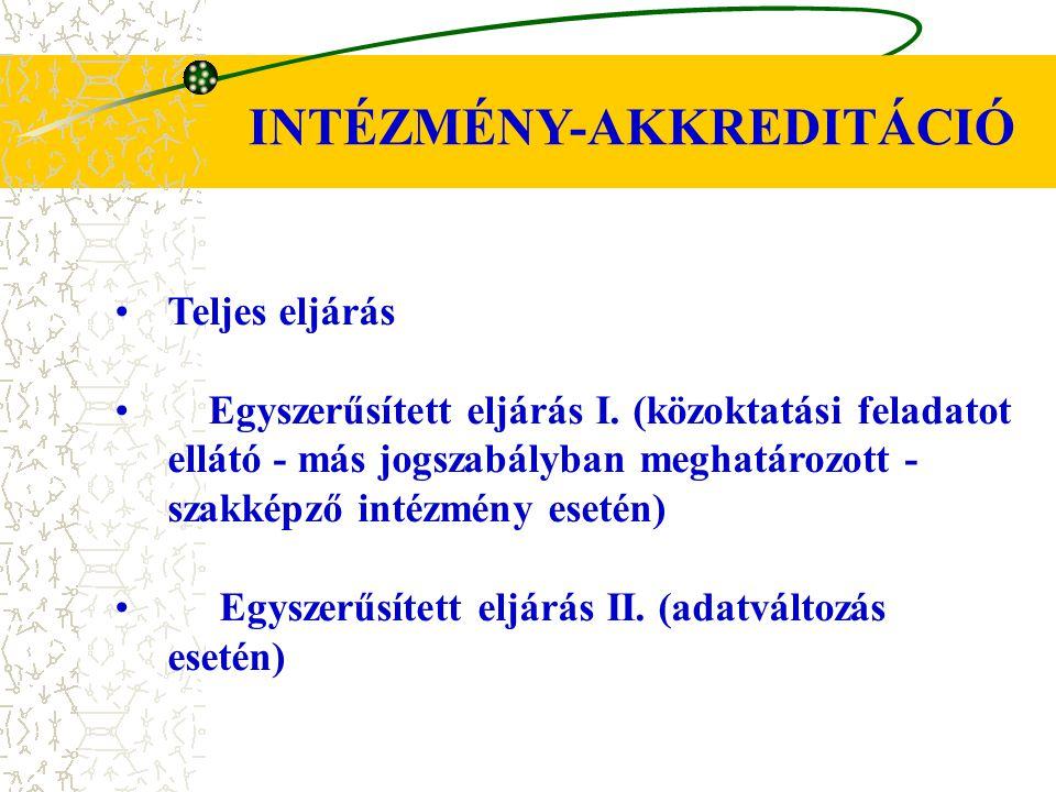 INTÉZMÉNY-AKKREDITÁCIÓ