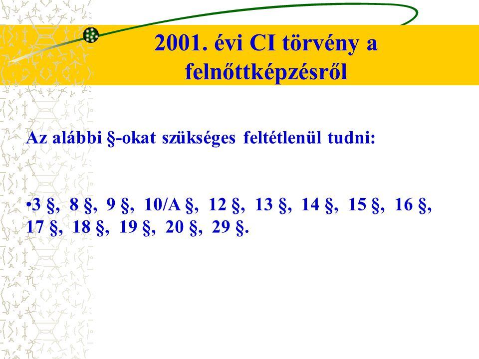 2001. évi CI törvény a felnőttképzésről