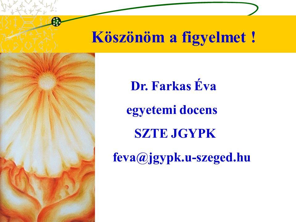 Köszönöm a figyelmet ! Dr. Farkas Éva egyetemi docens SZTE JGYPK