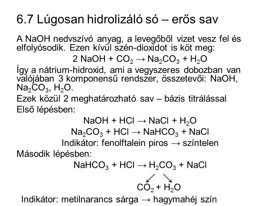 6.7 Lúgosan hidrolizáló só – erős sav