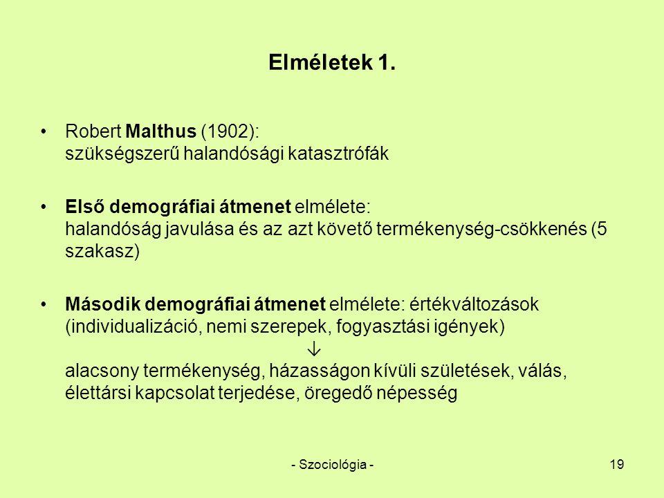 Elméletek 1. Robert Malthus (1902): szükségszerű halandósági katasztrófák.