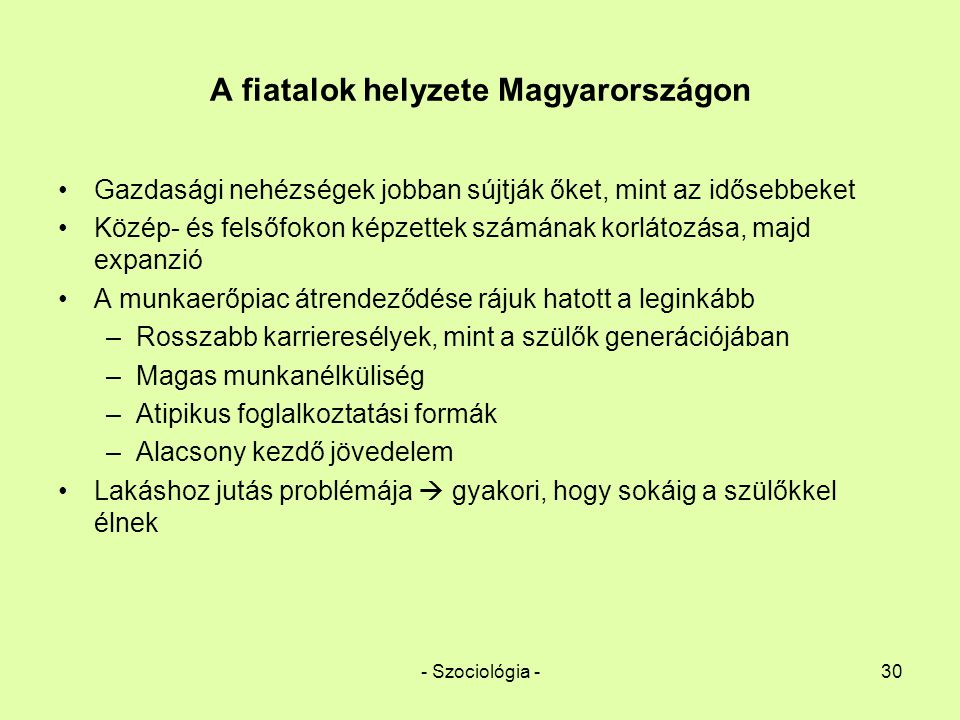 A fiatalok helyzete Magyarországon