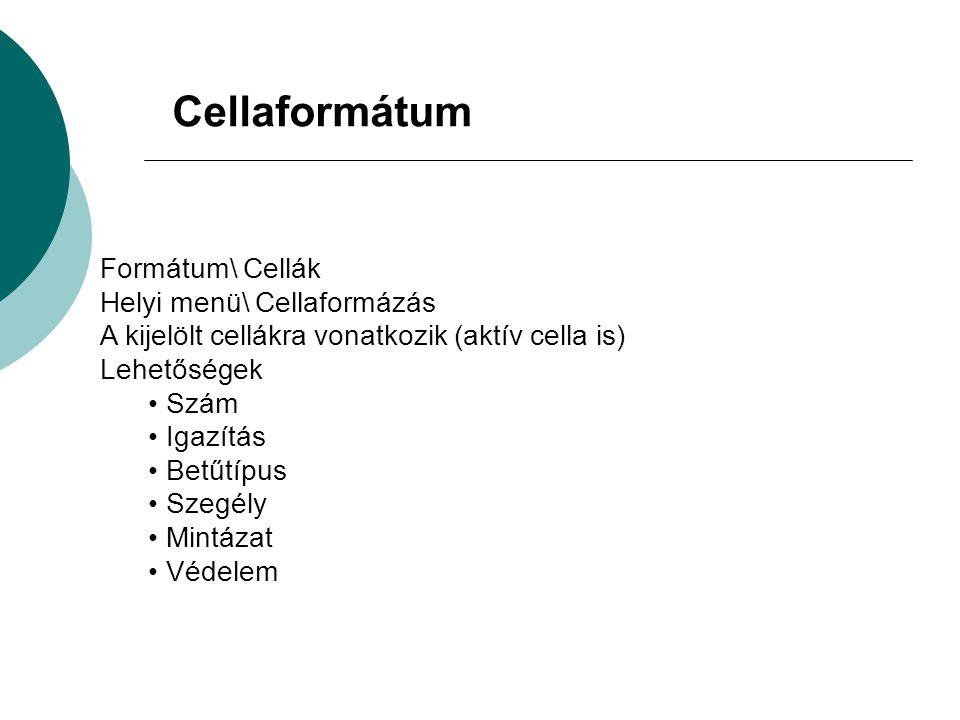 Cellaformátum Formátum\ Cellák Helyi menü\ Cellaformázás