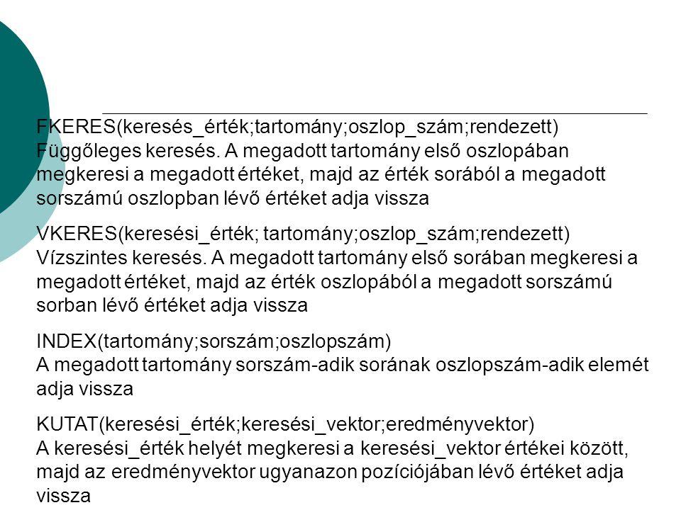 FKERES(keresés_érték;tartomány;oszlop_szám;rendezett) Függőleges keresés. A megadott tartomány első oszlopában megkeresi a megadott értéket, majd az érték sorából a megadott sorszámú oszlopban lévő értéket adja vissza