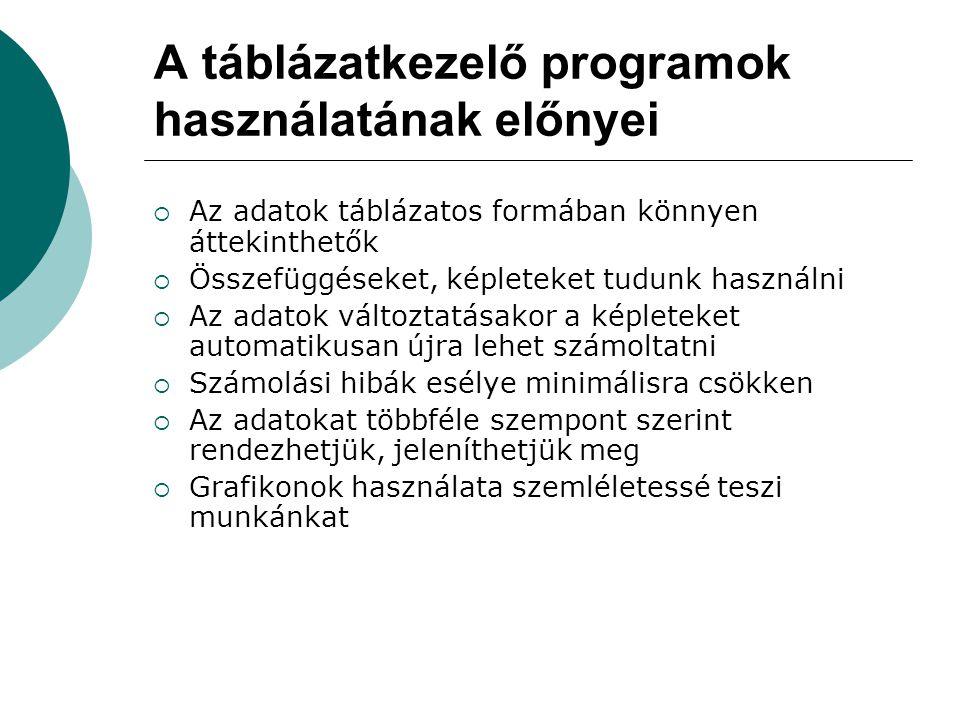 A táblázatkezelő programok használatának előnyei