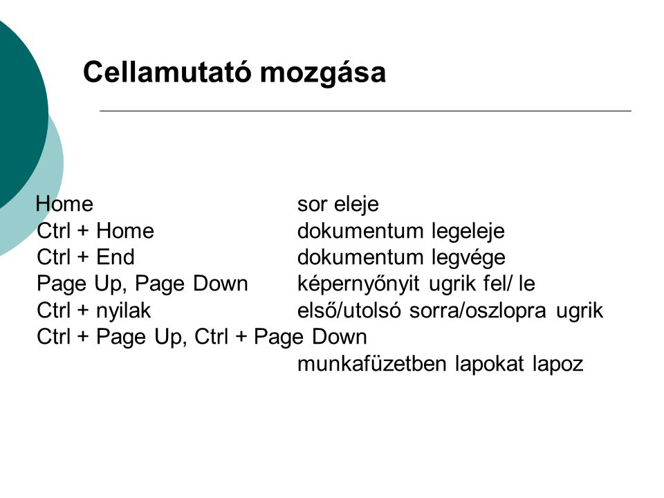 Cellamutató mozgása Ctrl + Home dokumentum legeleje