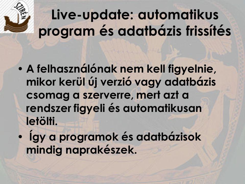Live-update: automatikus program és adatbázis frissítés