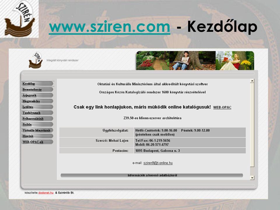 www.sziren.com - Kezdőlap