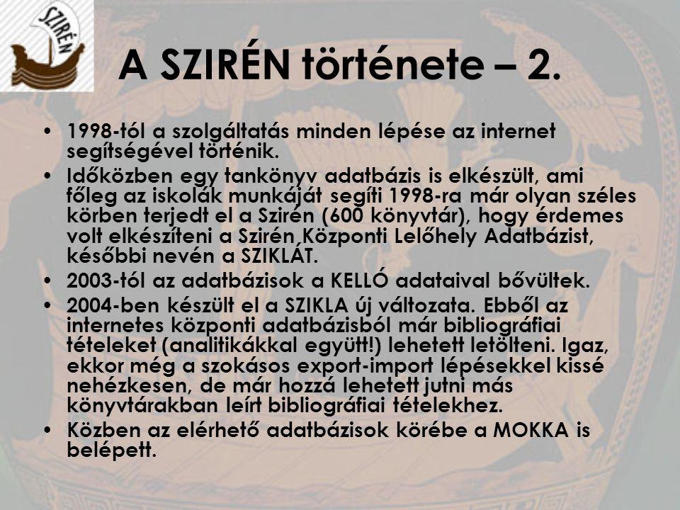 A SZIRÉN története – 2. 1998-tól a szolgáltatás minden lépése az internet segítségével történik.