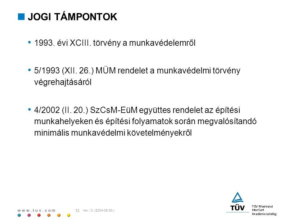 JOGI TÁMPONTOK 1993. évi XCIII. törvény a munkavédelemről