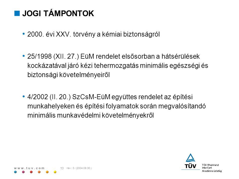 JOGI TÁMPONTOK 2000. évi XXV. törvény a kémiai biztonságról