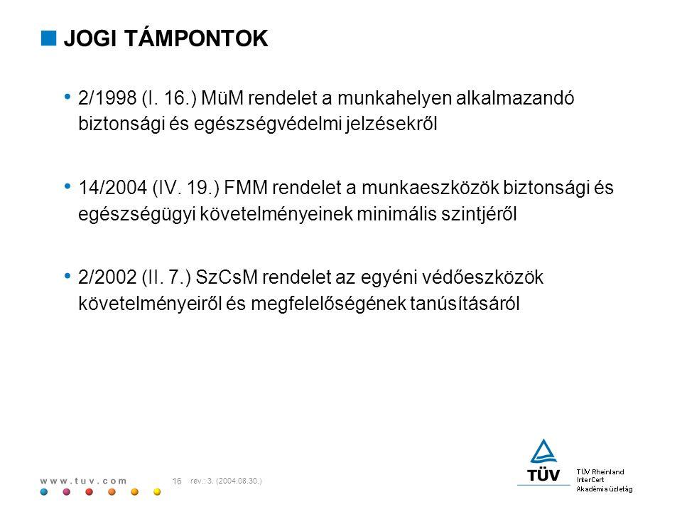 JOGI TÁMPONTOK 2/1998 (I. 16.) MüM rendelet a munkahelyen alkalmazandó biztonsági és egészségvédelmi jelzésekről.
