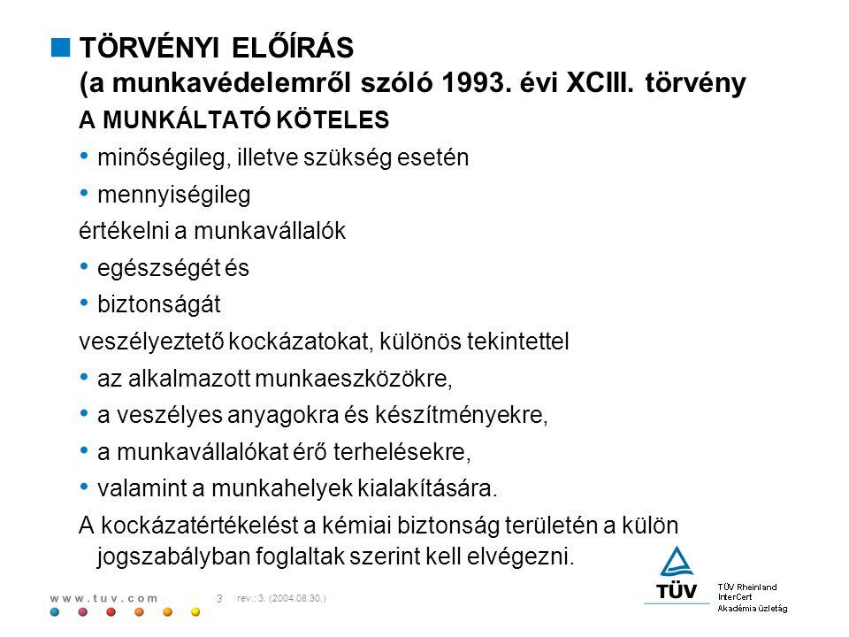 TÖRVÉNYI ELŐÍRÁS (a munkavédelemről szóló 1993. évi XCIII. törvény